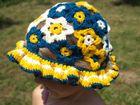 Ručne háčkovaný detský klobúčik s kvietkovaným vzorom - vzor č. 4